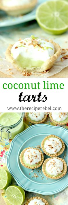 A light, creamy and refreshing lime filling topped with fluffy coconut cream! Perfect for Spring or Cinco de Mayo! Mini Desserts, Easy Desserts, Delicious Desserts, Dessert Recipes, Yummy Food, Breakfast Recipes, Lime Recipes, Tart Recipes, Mexican Food Recipes