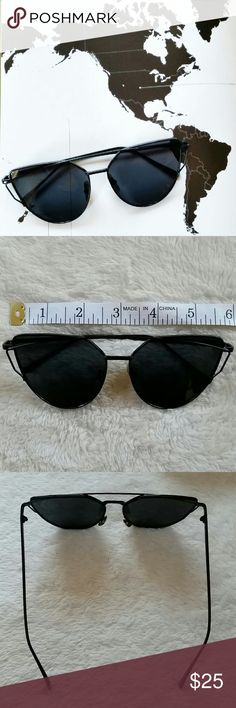 Black Cat Eye Sunglasses Trendy Cat Eye Sunglasses. All black. New. Only taken out for photos. @alexiscb  Accessories Sunglasses