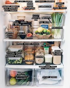 Clean eating fridge contents is part of Healthy fridge - Healthy Fridge, Fridge Organization, Organized Fridge, Fridge Storage, Clean Fridge, How To Organize Fridge, Good Food, Yummy Food, Sustainable Living