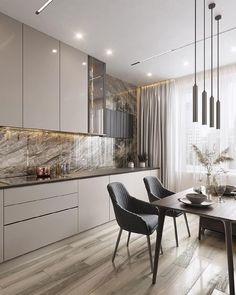 Luxury Kitchen Design, Kitchen Room Design, Home Room Design, Home Decor Kitchen, Home Interior Design, Living Room Designs, House Design, Kitchen Interior Inspiration, Luxury Decor