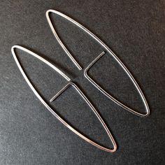 Sterling Silver 925 Simple Modern Wire Earrings $19