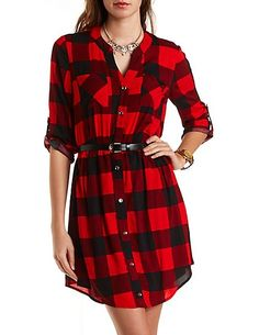 Buffalo Plaid Belted Shirt Dress, 28.99