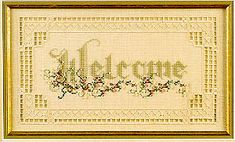 Cross N Patch Welcome - Cross Stitch Pattern. Model stitched on 32 ct Cream Belfast by Zweigart using DMC floss & Mill Hill Beads. <br /> Stitch count 166x90.