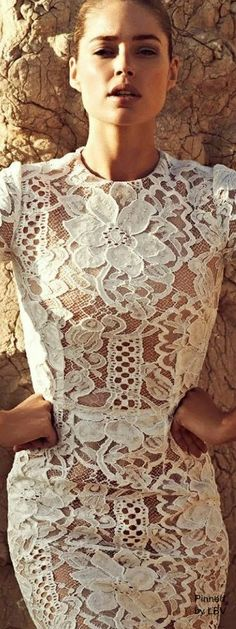 The Vogue Fashion: Dolce and Gabbana White Lace Dress Look Fashion, High Fashion, Fashion Beauty, Womens Fashion, Vogue Fashion, Lace Dress, Dress Up, Mode Outfits, Mode Inspiration