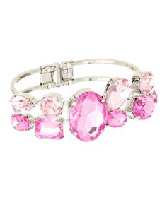 Another great find on #zulily! Pink & Silver Faceted Hinge Cuff by Majestic #zulilyfinds