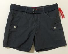 UNIONBAY Women's Juniors Carbon Gray Flat Front Belted Casual Shorts Size 9 NWT #UNIONBAY #CasualShorts