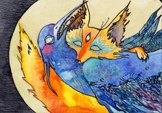 Ketsune is strangling the Blue Bird of Happiness. by Marina Korenfeld