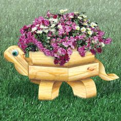 "Landscape Timber Turtle Planter Plan.  Who can resist wanting to build this adorable planter for your yard or patio? 10-1/2""T x 18-1/2""W x 30-1/2""L  Plan #2344  $11.95  ( crafting, crafts, woodcraft, pattern, woodworking, yard art, landscape timber, planter ) Pattern by Sherwood Creations"