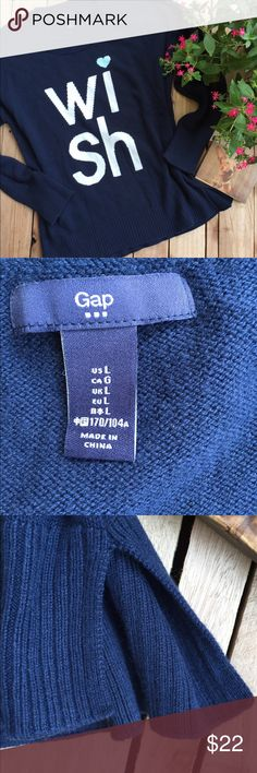 Gap Navy Wish Sweater Too cute!!! Gap navy blue wish sweater. Side splits for ease of movement. Size Large. GAP Sweaters Crew & Scoop Necks
