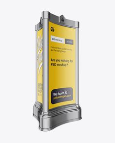 Advertising Poster Pillar with Matte Poster Mockup – Half Side View