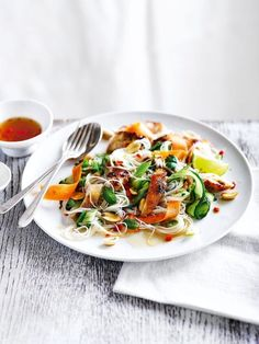 An easy and speedy chicken noodle salad recipe made with carrots, cucumber and a punchy lime and chilli dressing. Thanks delicious. Chicken Noodle Salad Recipe, Chicken Recipes, Noodle Salads, Chicken Noodles, Lunch Recipes, Cooking Recipes, Healthy Recipes, Healthy Meals, Quinoa