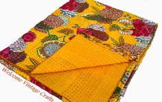 Handmade Kantha Quilt Floral Print King Size Quilt ,Indian Handmade Bohemian Bedspread Cotton Floral Kantha Beach Throw Bedcover Bedsheet