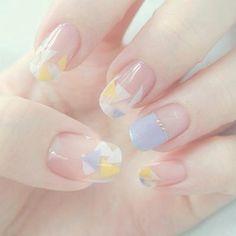 Pin by Nagel Kunst on Japanische Nagelkunst in 2020 Korean Nail Art, Korean Nails, Minimalist Nails, Pretty Nail Art, Cute Nail Art, Nail Swag, Les Nails, Transparent Nails, Kawaii Nails