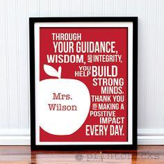 Custom Teacher Print  Apple Typography Teacher Gift by PrintChicks, $18.00