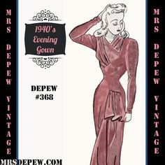 Vintage Sewing Pattern 1940's Asymmetric Evening or Wedding Gown in Any Size Depew 368 - PLUS Size Included -INSTANT DOWNLOAD- by Mrsdepew on Etsy https://www.etsy.com/listing/199918104/vintage-sewing-pattern-1940s-asymmetric