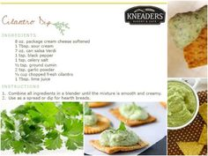 Cilantro Dip. Bright cilantro and smooth cream cheese are the stars of this popular Cilantro Dip. Serve with toasted Kneaders Baguette slices and veggie sticks as an appetizer at your next party! #kneaders
