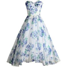 Vintage 1950's Fred Perlberg Blue Roses Strapless Cocktail Dress (5,340 MXN) ❤ liked on Polyvore featuring dresses, gowns, vintage strapless dress, blue cocktail dress, blue dress, print dress and rose pattern dress