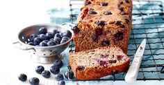 For a healthy afternoon snack try this gluten-free, dairy-free banana and blueberry bread.
