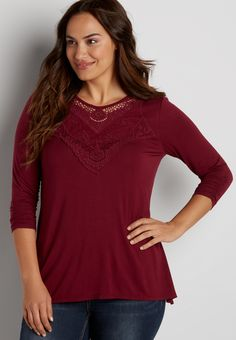 plus size shark bite tee with crocheted yoke (original price, $36.00) available at #Maurices