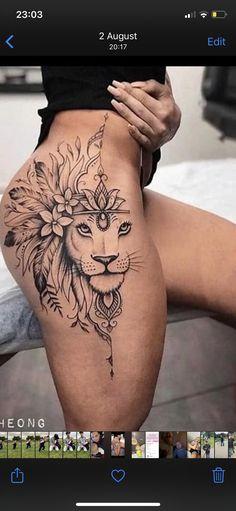 Side Thigh Tattoos Women, Lion Tattoo On Thigh, Thigh Piece Tattoos, Floral Thigh Tattoos, Ankle Tattoos For Women, Cute Tattoos For Women, Back Tattoo Women, Side Of Hip Tattoo, Lion Back Tattoo