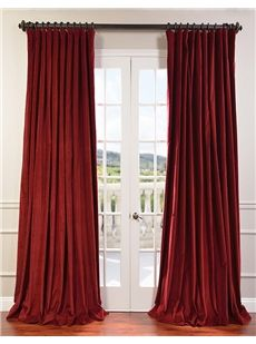 Claret Red Doublewide Vintage Cotton Velvet Curtain Mauve Textured Linen Blend Pole Pocket Curtain on discounted prices with coupon and promo codes from Halfpricedrapes.com.