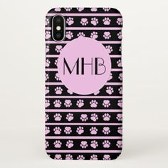 Monogram - Dog Paws Traces Stripes - Pink Black iPhone X Case - black gifts unique cool diy customize personalize