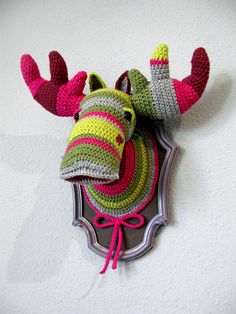 Crochet Color block Moose BIG in a wooden frame by ManafkaMina, ₪580.00 (160 USD) MOOOSE! WANT WANT WANT