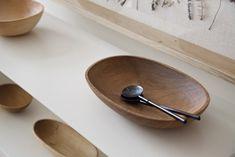 Hand carved chestnut bowl with black urushi salad servers. Author: japanese wood artisan Tomii Takashi.