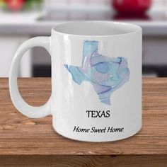 Texas State Coffee Mug ~ Home Sweet Home ~ Choose Your State & Design ~ 2 Sizes Available ~ Whimsica