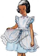 Vintage 1950s Baby Girl Toddler Dress Apron Bows Sz 1 2 3 Sewing Pattern Copy