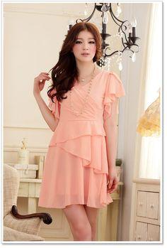 Wholesale V Collar Korean Dress Y9209 Pink [Korean Dress Y9209 Pink] - $18.00 : YOCO - Wholesale Clothing,Wholesale Dresses Fashion,Wholesale Japanese and Korean Fashion.