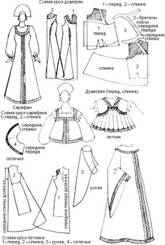 Russian traditional dress pattern and how to wear Doll Dress Patterns, Costume Patterns, Sewing Patterns, Traditional Fashion, Traditional Dresses, Historical Costume, Historical Clothing, Russian Culture, Russian Folk