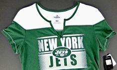 Womens Jets Football T-Shirt Green V-Neck Logo Slim Fit Majestic NFL Size · New  York ... 83fc4649a
