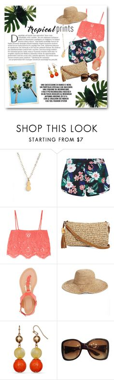 """""""Tropical Prints"""" by lalalaballa22 on Polyvore featuring Seoul Little, Balmain, New Look, Miguelina, Straw Studios, Bamboo, Nordstrom, Gucci, tropicalprints and hottropics"""