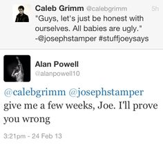 Hahaha!! Awwhh! :D (Alan's wife just had another baby)