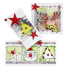 Shadowpaint set.  Set voor het maken van 5 kerstkaarten.  Inhoud van de set: 5 voorbeeld foto's in kleur, duidelijke werkbeschrijving, 2 vellen zwart druk papier, 3 kaartformaten en 4 vellen shadow papier A4.  Prijs per complete set.