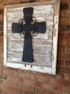 Antique Salvaged Old Window With Adorable Metal Cross Placed On Salvaged Wood