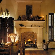 The NORMANDY fireplace mantel may be adapted to fit varying firebox heights.   Optional overmantels are available.
