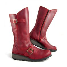 Fly London  Mes Mid Calf Boot in red
