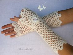 Lace Crochet Fingerless Gloves Wedding Ivory Hand Warmers Soft Romantic Vintage Style Flower Fluffy Kid Mohair flirty romantic feminine, $22.9
