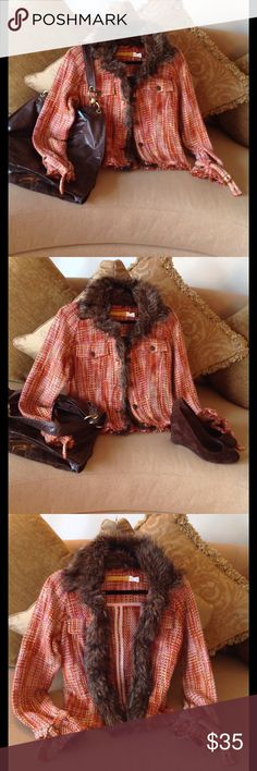 🍃🌹'Twill Twenty Two' - Fur/ Tweed Jacket 🍃 Excellent, almost New condition Button Down jacket by Twill Twenty Two. Size Medium. Super Cute waist length with Faux Fur Collar and down the front. Gorgeous blend of colors: Orange/ Tan/ Pink with Bronze buttons and nail heads. Two front pockets on the chest. This is simply Super Cute!!  The listing is for jacket only but I will sell the Shoes (Size 8.5) if interested🍃🌹. Twill Twenty Two Jackets & Coats