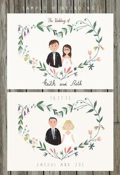 Custom Portraits Wedding Invitation - Illustrated Floral Wedding Invities
