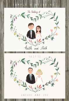 Printable Custom Portraits Wedding Invitation -  Illustrated Floral Wedding Invities - PDF -Blank Card. $85.00, via Etsy.