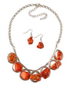 Orange Chunk Stone Silver Bib Necklace Set