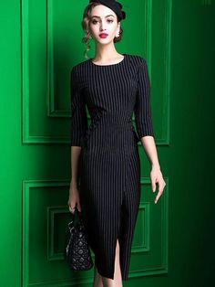 Doresuwe.com SUPPLIES セレブ愛用 ファッション 大物高·ベンツ セクシーなストライプ柄マキシワンピース  デートワンピース (5)