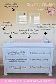 NURSERY ORGANIZATION FOR THE NESTING MOM. Nursery Organization Dresser - Healthy Little Mama. Nursery organization ideas for the nesting mom. How to maximize storage in a small space using your changing table, dresser, and closet shelves Baby Room Boy, Baby Bedroom, Baby Nursery Closet, Baby Gurl Nursery, Baby Girl Dresser, Ikea Baby Nursery, Baby Girl Closet, Baby Girl Room Decor, Kid Closet