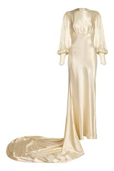 1930s Silk Satin Bias Cut Ivory Wedding Dress | From a collection of rare vintage evening dresses and gowns at https://www.1stdibs.com/fashion/clothing/evening-dresses/