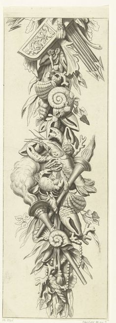 Anonymous | Trofee met pijlkoker en pijlen, Anonymous, 1675 - 1700 | Onder de pijlkoker hangen schelpen, koraal, een krab, een kreeft, twee fakkels en bladeren. De trofee is hetzelfde als bij objectnummer RP-P-1986-117, maar dan zonder parallel-arcering op de achtergrond.