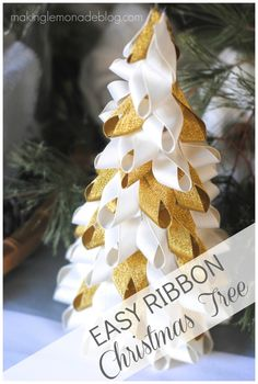 Easy Ribbon Trees: here's the tutorial on how to whip up these West Elm knock-off in no time flat for some beautiful holiday decor that won't break the bank. Check out how easy these are to make, and then add your own twist by using colors you love!
