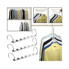 Closet space is a valuable commodity in most households, maximize it with these cascading hangers. Specially designed to hold up to six hangers, this holder allows you to suspend and remove hangers qu